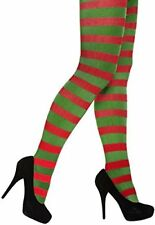 Adult Womens Sexy Christmas Stripe Stripey elf Tights Elf Miss Santa Red/Green
