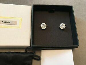MIU MIU Genuine Large Crystal Stud Earrings Silver Tone