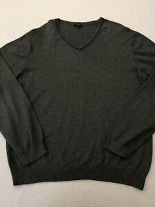 "Men's JAEGER V Neck jumper 2XL XXL chest 48"" long sleeves cashmere/cotton blend"