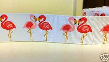"""1 iarda - 25mm (1 """") di larghezza Pink Flamingo stampato nastro di seta grossa taglio cucito"""