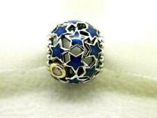 Genuine Sterling Silver & 14ct Gold PANDORA NIGHT SKY BLUE & CZ Charm