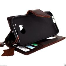 genuine leather Case for HTC ONE M8 book wallet handmade cover slim magnet brown