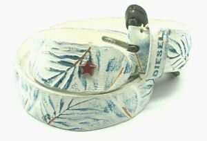 DIESEL BONCE Mens Belt Genuine Leather Causal Waist Belt White 100 CM RRP £90