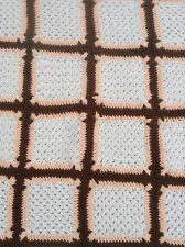 Handmade Afghan Throw Cream Brown Orange Squares