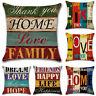 18'' Love Home Pillow Case Sofa Waist Cushion Cover Bedroom Decor Flax Retro L24