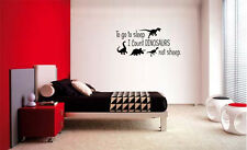 TO GO TO SLEEP I COUNT DINOSAURS NOT SHEEP VINYL WALL DECAL WORDS CHILDRENS ROOM
