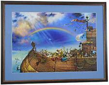 "HAND SIGNED Tom duBois THE PROMISE Matted Framed Noah's Ak Print 14"" x 20"" Image"