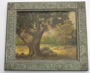 VINTAGE ANTIQUE AMERICAN IMPRESSIONIST PAINTING LANDSCAPE GLOW MYSTERY ARTIST