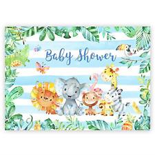 7x5ft Safari Animals Baby Shower Backdrop Jungle Woodland Theme Party Decoration