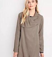 Garnet Hill asymmetrical Gray wrap lined jacket women's size 12 NWOT