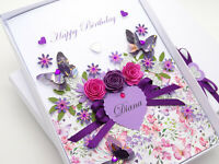 HANDMADE CARD Personalised Birthday MUM WIFE FRIEND Any Age Gift Box Hand Craft