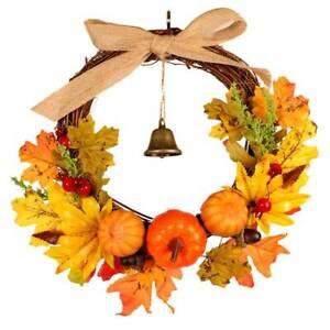 Halloween Autumn Maple Leaf Pumpkin Wreath Thanksgiving Garland Home Decoration