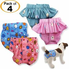 PACK - 4 Dog Female Girl Diapers 100% COTTON Skirt and Panties For SMALL Pet Cat