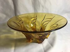 VINTAGE LARGE AMBER DEPRESSION GLASS BOWL ART DECO 1930s