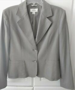 Talbots Suit Jacket Womens Size 8 Italian Fabric Gray Waist Length