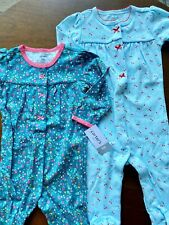 Carter's 9M 2-Pack Snap-Up Footie Pajamas Girls Cherry and Flower Print Cotton