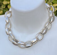 Vintage Silver Toned Chunky Cable Link Statement Necklace 19'