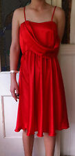 Womens Red Dress Size 6-8 Straps Ladies Formal Hand Made Satin Sheen Bridesmaid