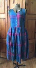 Vintage Multi Colour Plaid Blue Green Pink Sleeveless Dress