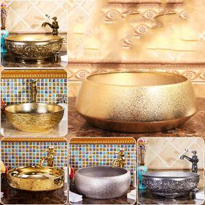Ceramic Vessel Sink Round Wash Bowl With Drain Mixer Bathroom Faucet Taps Set