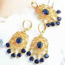 Gorgeous 9K Yellow Gold Filled Blue CZ Womens Earing Pendant Free Shipping