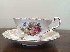 Paragon Bone China E68B Fruit & Flowers Footed Tea Cup & Saucer Set ~ England