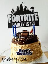 PERSONALISED FORT CAKE TOPPER *16 FREE CUPCAKE PICKS* NITE GAMING XBOX PS4