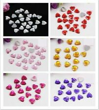 250pcs 8mm Mixed Colour Arcylic Beads Jewel Heart Flat Back Faceted Card Making