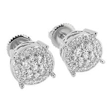 Mens Womens Round Face Cluster Set Earrings Lab Diamonds Screw Back