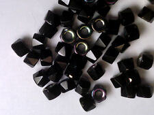 vtg 100 BLACK OPAQUE AB FACETED FIRE POLISHED ROLLER BEADS GLASS 6mm  #061915j