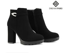 DREAM PAIRS Women Fashion Boots High Block Heel Suede Ankle Boots Fuax Fur Warm