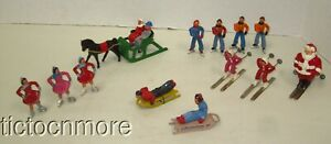 OLD BARCLAY LEAD CHRISTMAS FIGURES SKATERS SKIERS FIGURES SKI SANTA HORSE SLED