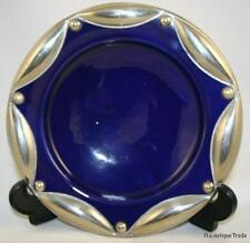 VINTAGE BLUE CERAMICS 9IN ART PLATE GLAZED POTTERY AND WHITE METAL DECORATED