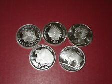5 US coin series 1 oz.,.999 fine silver coin rounds from 2010. 5 troy oz silver