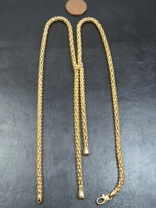 VINTAGE 9ct GOLD POPCORN LINK LARIAT STYLE NECKLACE 18 inch