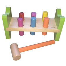 HAMMERING BENCH with PEGS and HAMMER Wooden Educational CLASSIC PRESCHOOL TOY