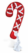 """MULTIPET CHRISTMAS HOLIDAY CANVAS CANDY CANE CROSS ROPE 17"""" DOG TOY. FREESHIPUSA"""