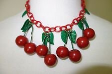 Vintage 40s Bakelite Cherry Cherries Necklace Celluloid Chain Leaves