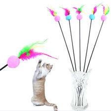 Hot Steel Wire Kitten Cat Toy Feather Rod Teaser Bell Play Pet Dangler Wand NTPK