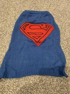 DC Comics Originals Blue Superman Dog Sweater Costume Shirt Size L ~ NEVER WORN