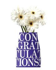 CONGRATULATIONS REVA REUSABLE VASE w/ CARD ~ Birthday Party Supplies Decoration