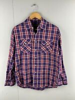 Woodland Vintage Men's Western Long Sleeve Button Up Shirt Size M Purple Check