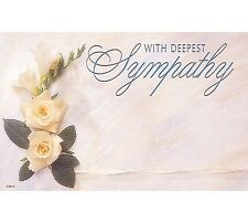 "50ct. ROSE FLOWER ""Deepest Sympathy"" Blank Florist Enclosure Cards Small Tags"