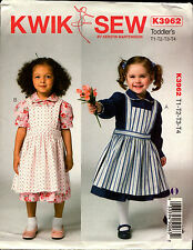 Kwik Sew Sewing Pattern K3962 3962 Toddles Dress and Pinafore
