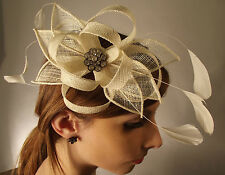 New Ladies Fashion Bridal Events Diamante Bow Loops Feather Fascinator Comb