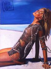 KATE MOSS BEACH - Hand OIL PAINTING canvas POP ART SEXY MODEL