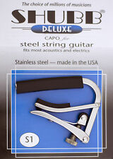 SHUBB S1 DELUXE CAPO HIGH QUALITY STAINLESS STEEL FOR ACOUSTIC GUITAR - USA MADE