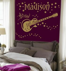 Large Rockstar Guitar/Music/Star Personalised Name Sticker Wall Art Decal