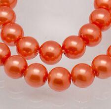 50 X melocotón de cristal perla redonda granos de Craft Joyería - 8 Mm-lb1243