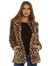 Miss Selfridge taglia 12-14 in pelliccia sintetica Leopard stampa cappotto da donna Giacca Donna
